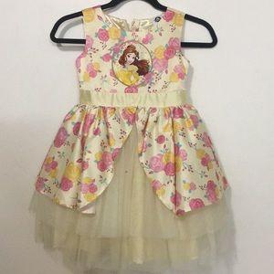 Yellow floral Princess Belle Dress